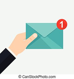 envelope., entrante, nuovo, prese, mano, message.