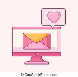 envelope, fala, computador, bolha, monitor
