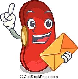 envelope, feijão, tigela, caricatura, vermelho