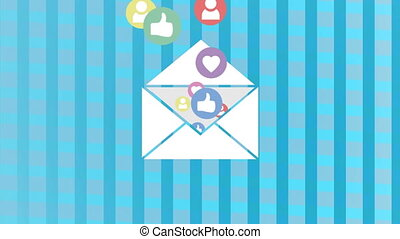 Envelope filled with likes and hearts