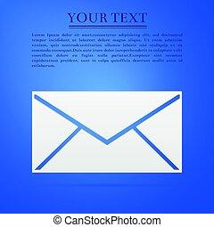 Envelope flat icon on blue background. Vector Illustration