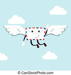 envelope flying illustration design