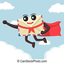 envelope flying with cape
