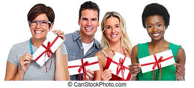 envelope, fregueses, grupo, gift.