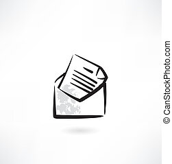envelope, grunge, letra, ícone