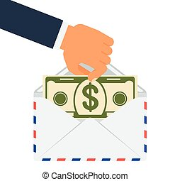 envelope hand hold dollar