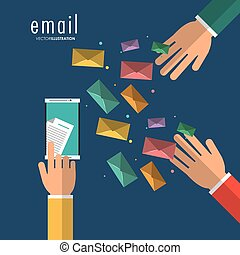 Envelope hand smartphone email message mail icon. Vector graphic