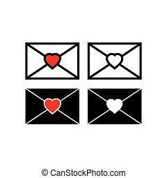 Envelope heart logo icon set