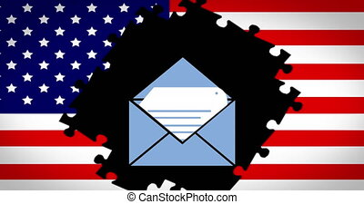 Animation of envelope over American flag with jigsaw puzzle pieces missing in the background. Postal voting elections in Covid 19 pandemic concept digitally generated image.