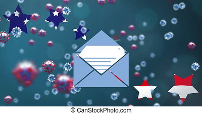 Animation of envelope and Covid 19 cells with American flag blue, red and white stars on blue background. Postal voting elections in Covid 19 pandemic concept digitally generated image.