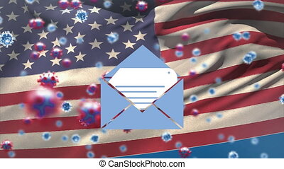 Animation of envelope and Covid 19 cells with American flag waving on blue background. Postal voting elections in Covid 19 pandemic concept digitally generated image.