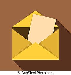 Envelope icon, flat style