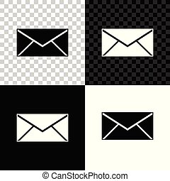 Envelope icon isolated on black, white and transparent background. Email message letter symbol. Vector Illustration