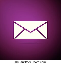 Envelope icon isolated on purple background. Email message letter symbol. Flat design. Vector Illustration