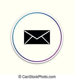 Envelope icon isolated on white background. Email message letter symbol. Circle white button. Vector Illustration