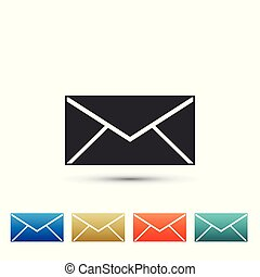 Envelope icon isolated on white background. Email message letter symbol. Set elements in colored icons. Flat design. Vector Illustration