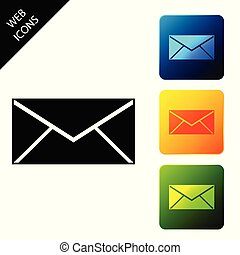 Envelope icon isolated on white background. Email message letter symbol. Set icons colorful square buttons. Vector Illustration