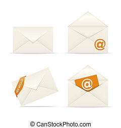 Envelope icon mail on white background