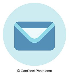 Envelope Icon Mail Post Letter Button On Blue Background