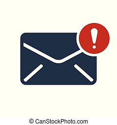 Envelope icon, multimedia icon with exclamation mark. Envelope icon and alert, error, alarm, danger symbol