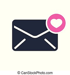 Envelope icon, multimedia icon with heart sign. Envelope icon and favorite, like, love, care symbol