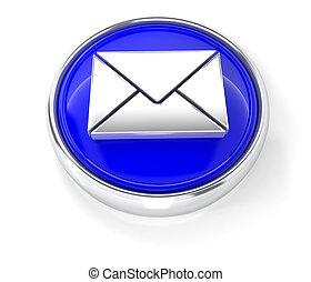Envelope icon on glossy blue round button