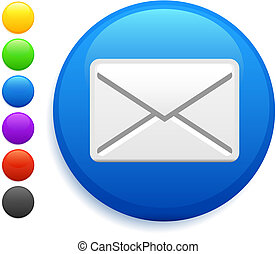 envelope icon on round internet button