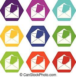 Envelope icon set color hexahedron