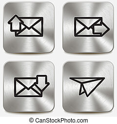 Envelope icons on metallic buttons set vol2