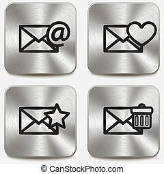 Envelope icons on metallic buttons set vol3