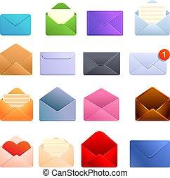 Envelope icons set, cartoon style