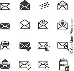 envelope, ilustração, e-mail, vetorial, letra, ícone