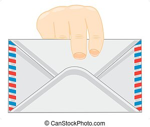 Envelope in hand of the person