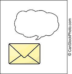 envelope, isolado, fala, fundo, branca, bolha