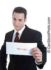 envelope, isolado, foreclosed, segurando, homem, caucasiano, bonito