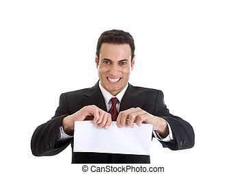 envelope, isolado, furioso, homem negócios, branca, rasgando, caucasiano