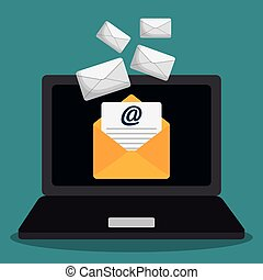 envelope laptop email marketing send design.