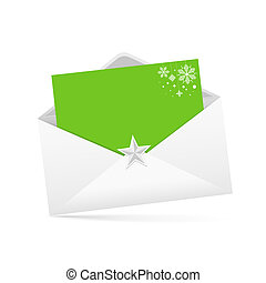 Envelope letter and green paper merry christmas isolated