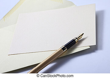 envelope letter and pen - pastel yellow envelope letter and...