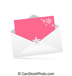 envelope letter and pink paper merry Christmas isolated