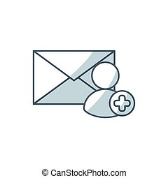 envelope letter with social media icon