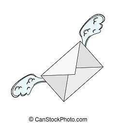 envelope letter with wings isolated icon