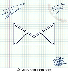 Envelope line sketch icon isolated on white background. Email message letter symbol. Vector Illustration