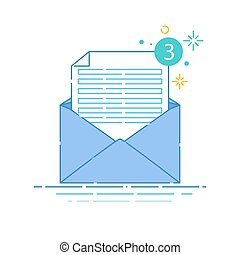 Envelope linear icon - Vector illustration of open envelope...