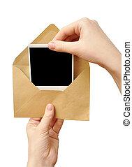 envelope, mão