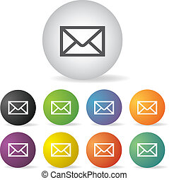 envelope mail button set