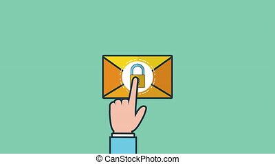 envelope mail send social media ,4k video animation