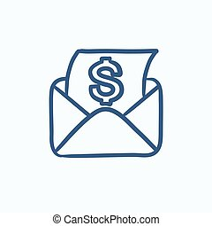 Envelope mail with dollar sign sketch icon.