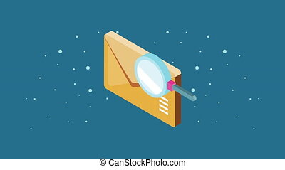 envelope mail with magnifying glass ,4k video animated