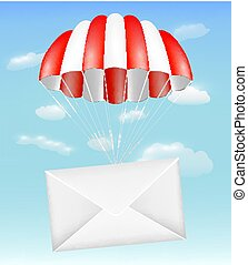 envelope mail with parachute on sky background